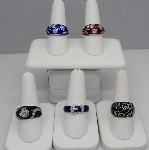 Lot of 5 Sterling Silver Floral, Swirl, Belt Buckle, Heart Designed Enamel Lady's Ring