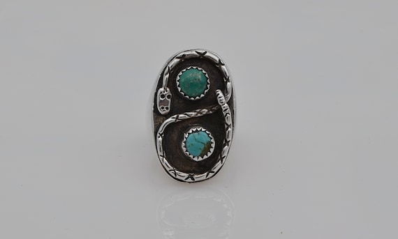 Vintage Native American Zuni Snake and Two Turquoise Cabochon Gemstones Men's Large Ring