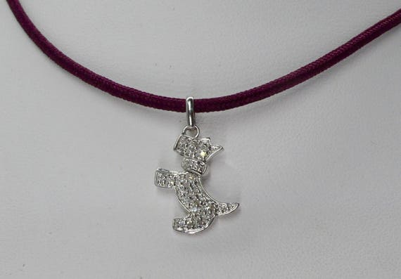 14kt White Gold Scottish Terrier Diamond Pendant