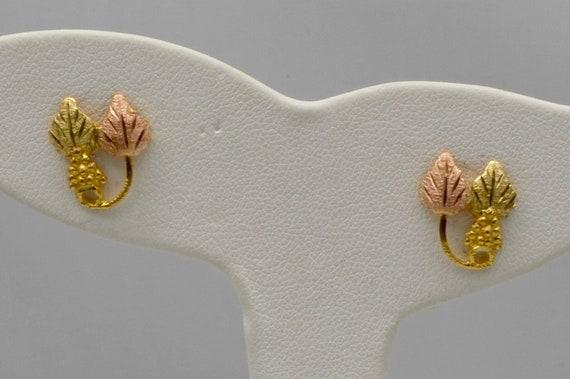 Vintage Black Hills Three Color Gold Grape & Leaf Post Earrings Hallmark F.L. Thorpe