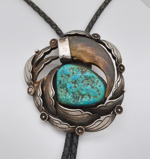 Large Vintage Turquoise and Replica Bear Claw Sterling Silver Bolo Tie with Braided Leather Cord by Loren Begay