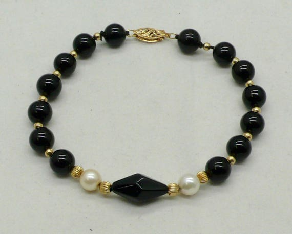 Vintage Black Onyx Bead Bracelet and 14K Gold
