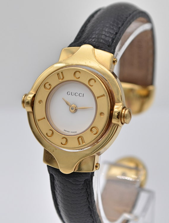 Preowned Authentic Gucci Gold-Plated Swivel-Twirl Cuff Lady's Wristwatch / Bracelet