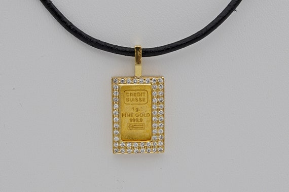 Credit Suisse 999 Gold Bar in .50 CTW Diamond 18kt Yellow Gold Bezel Pendant