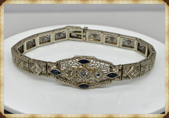 1920's Stunning Filigree 14k White Gold Diamond & Sapphire Bracelet with Presentation Wood Box and Outer Gift Box