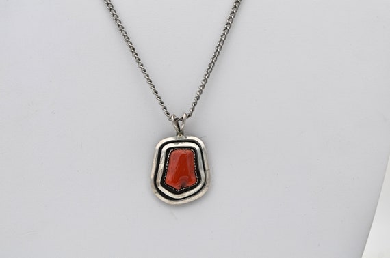 Stunning Vintage Native American Southwestern Coral Sterling Silver Shadow Box Pendant signed W. Johnson