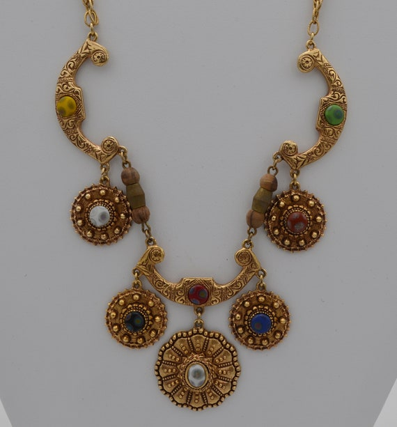 Very Dramatic Etruscan Style Vintage Florenza Millefiori Glass Necklace