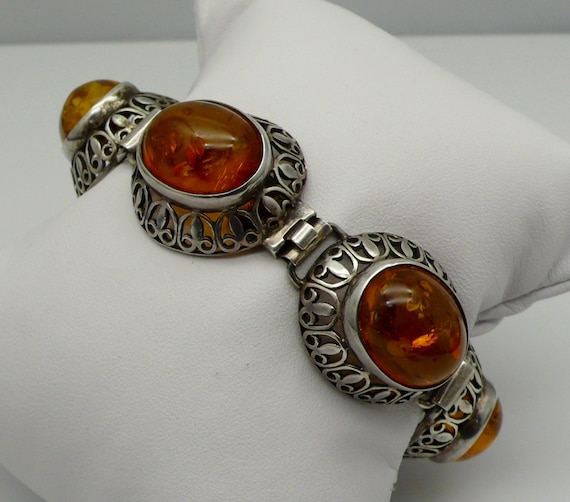 Vintage 6 Large Cabochon Orange Amber Sterling Silver Ladies' Bracelet
