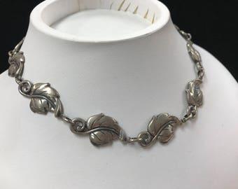 Vintage Danecraft Sterling Leaf Necklace Choker