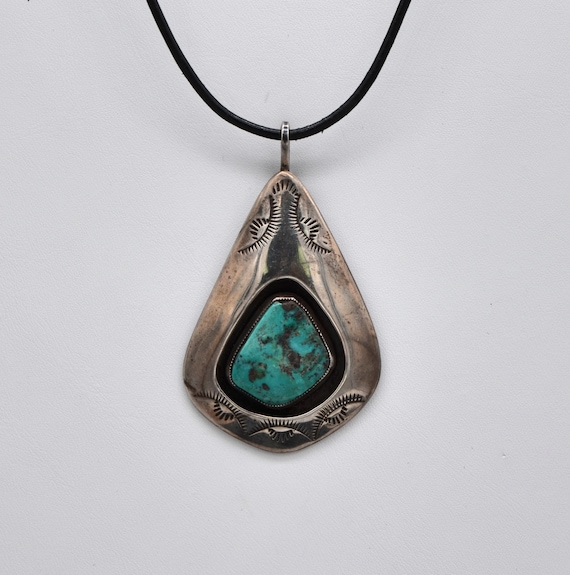 """Vintage Native American Sterling Silver Shadow Box Turquoise Pendant Signed """"FC"""""""