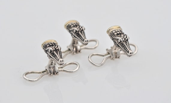 Rare Lot of 3 Barry Kieselstein-Cord Sterling Silver and 14k Yellow Gold Alligator Head Shirt Studs