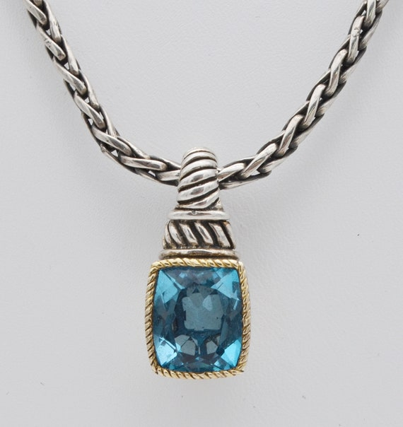 Stunning Effy Sterling Silverand 18kt Yellow Gold Blue Topaz Pendant & Sterling Silver Chain