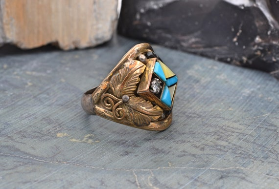 Vintage Mens Native American Sterling Silver & Gold Plated Mosaic and Inlay Ring - Navajo Artist Benson Boyd