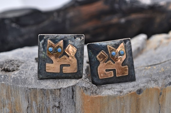 Vintage Artist Made Modernist Cat Cufflinks in Sterling and 18kt yellow gold with Turquoise Eyes - Made in Peru