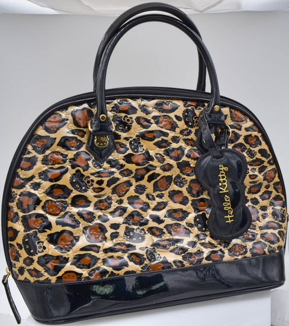 Authentic Loungefly Hello Kitty Embossed Leopard Print Patent Bag Model SANTB0616
