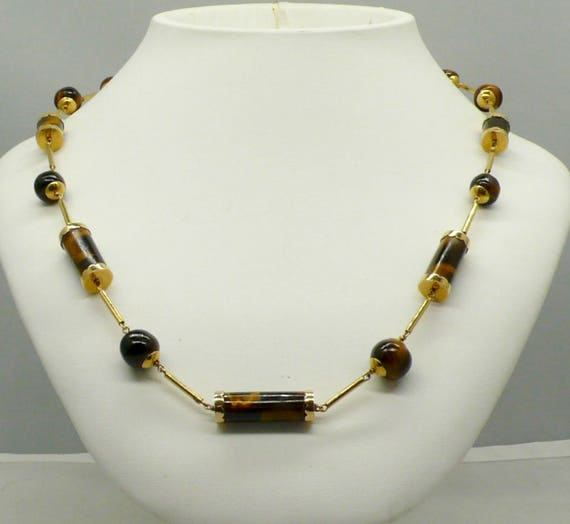 Vintage 14kt Yellow Gold  with Natural Tiger's Eye Bead Necklace 24""