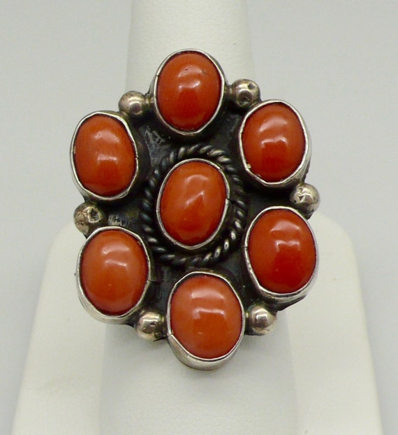 Vintage Navajo Sterling Silver with 7 Coral Cluster Lady's Ring