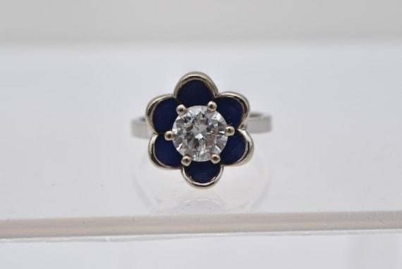 Vintage 1.18ct Round Diamond, Blue Enamel Flower 14kt White Gold Lady's Ring