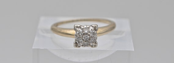 Vintage 1940's Trufit 14kt Yellow Gold Diamond Custer Lady's Ring