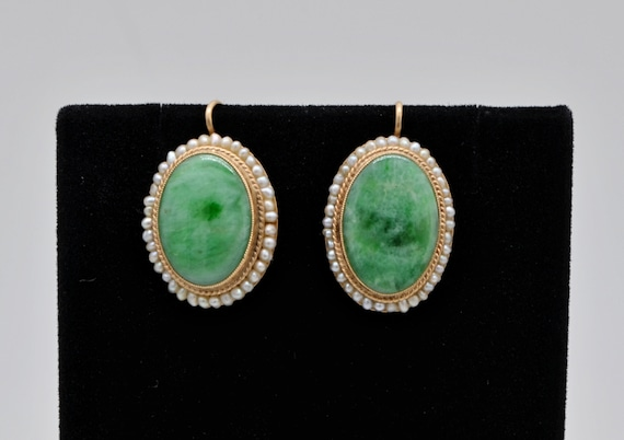 Vintage Green Jade Oval Earrings with Seed Pearls in 14kt Yellow Gold Wire-Back