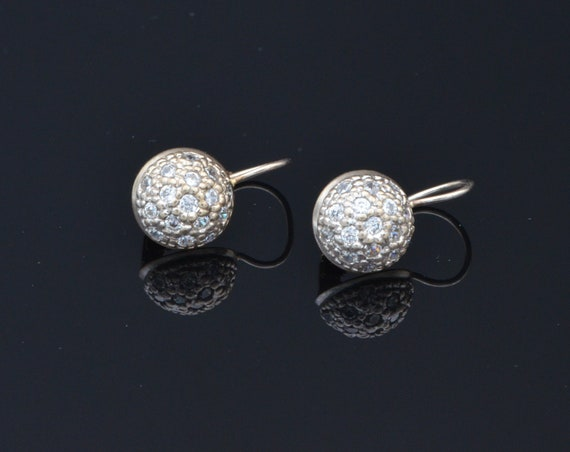 Vintage 14kt Yellow and White Gold Diamond Encrusted Dome Dangle Earrings