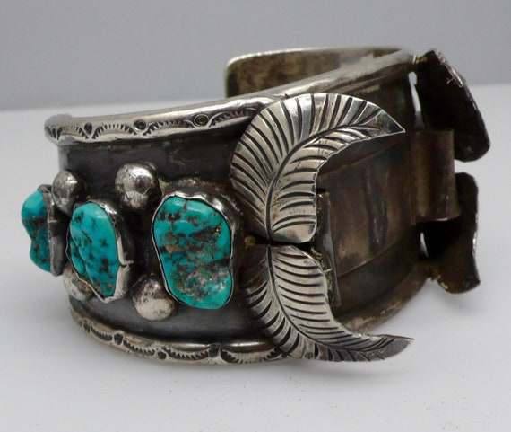 Vintage Native American Navajo Sterling Silver & Turquoise Watch Cuff Bracelet