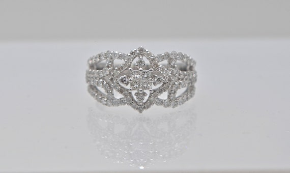 1/2 Carat Princess Cut and Round Diamond Cluster Snowflake Design 18k White Gold Lady's Right-Hand Ring