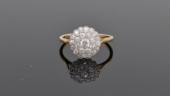 Stunning! Vintage Estate circa 1920's Diamond Cluster 18k Yellow Gold Ring .50 Carats Total Weight European Mine Cut Diamonds, Size 6.5