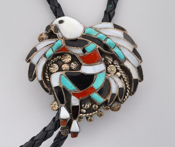 John Lucio 1950's Vintage Native American Zuni Turquois, Coral, Jet and Mother of Pearl shell Eagle Dance Sterling Silver Bolo Tie