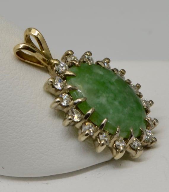 Vintage Apple Green Jade & Diamond Classic Pendant