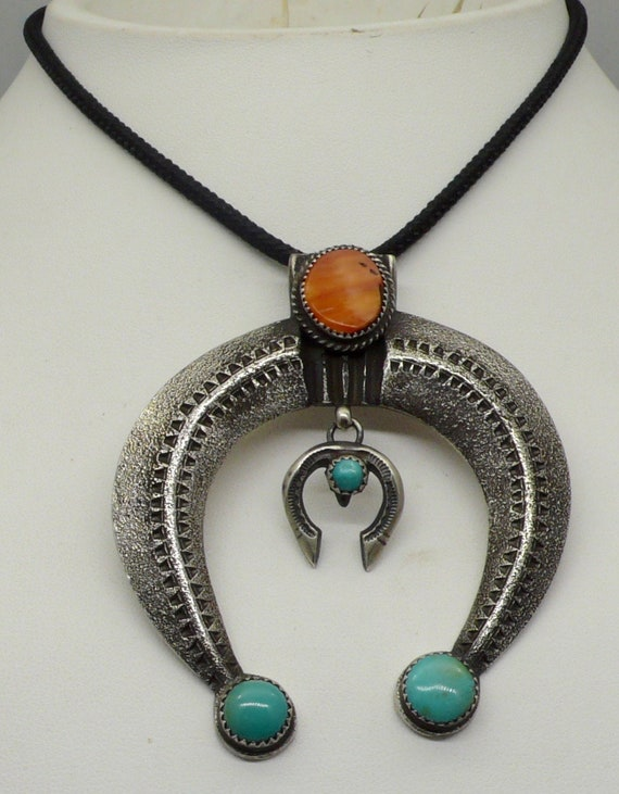 Native American Navajo Sandcast with Orange Spiny Oyster Shell and Turquoise Sterling Silver Naja Pendant