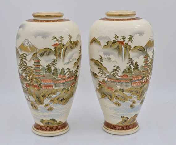 Pair of Antique Japanese Satsuma Earthenware Meiji Period Vases by Gyokuzan