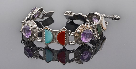 Circa 1956 Antique Sterling Silver Bracelet with Amethyst, Agate, Coral and Bloodstone from Glasgow Scotland