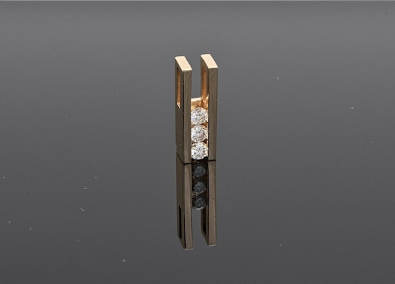 3 Diamond Past Present Future 14kt Yellow Gold Sliding Pendant with 1 Carats Total Weigh in Diamonds
