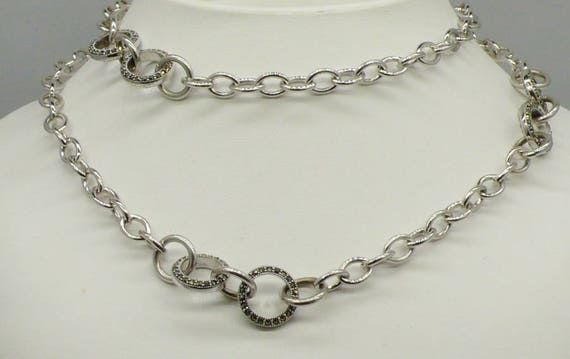 """Vintage Sterling Silver Round Link with Marcasite - 30"""""""
