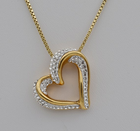 "JCM Gold Layered Over Sterling Silver Open Heart Encrusted with CZ's on a 20"" Gold Layered Sterling Silver Box-Link Chain"