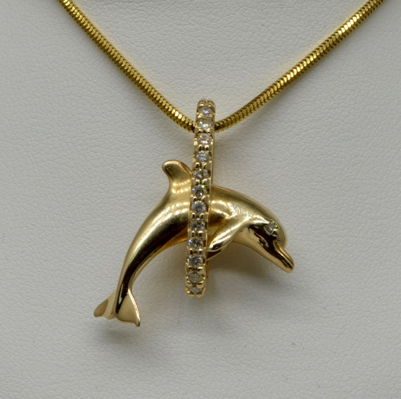 Vintage 14kt Yellow Gold & Diamond Jumping Dolphin Pendant