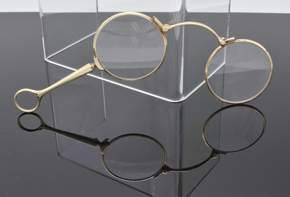 Antique Solid 14k Gold Largnetter Folding Opera / Theater Glasses Victorian