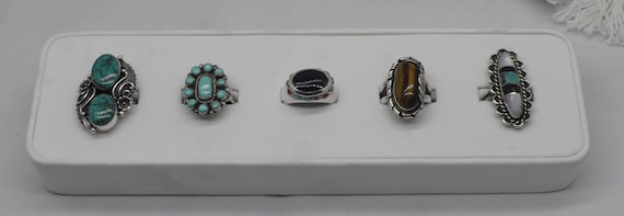 WOW!! Retro Collection of 5 Sterling Silver Native American Navajo & Zuni Rings