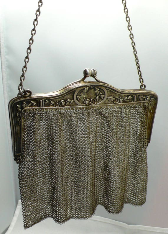 Antique circa Early 1900's Sterling Silver Art Nouveau Era Mesh Purse
