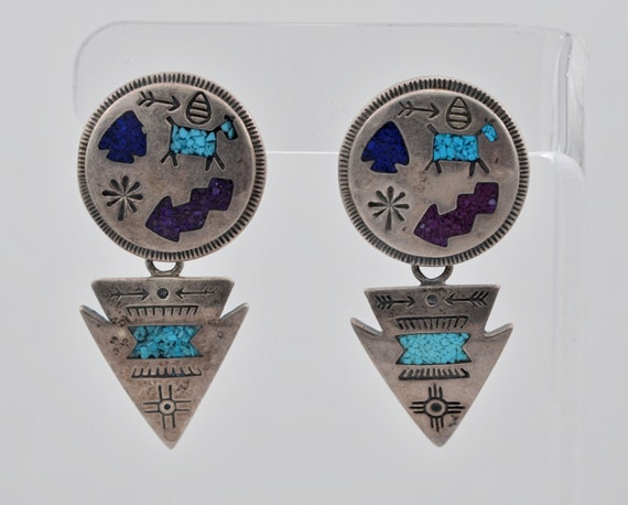 Authentic Native American Carolyn Pollack Storyteller Disc & Dangling Arrowhead Sterling Silver, Turquoise, Lapis Earrings