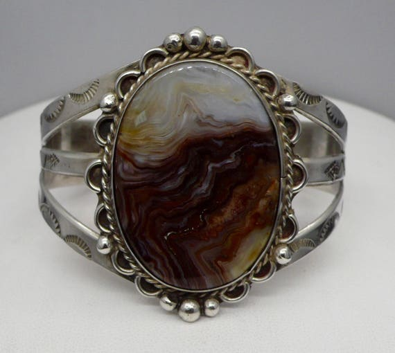 Vintage Native American Sterling Silver Rhodochrosite Cuff Bracelet