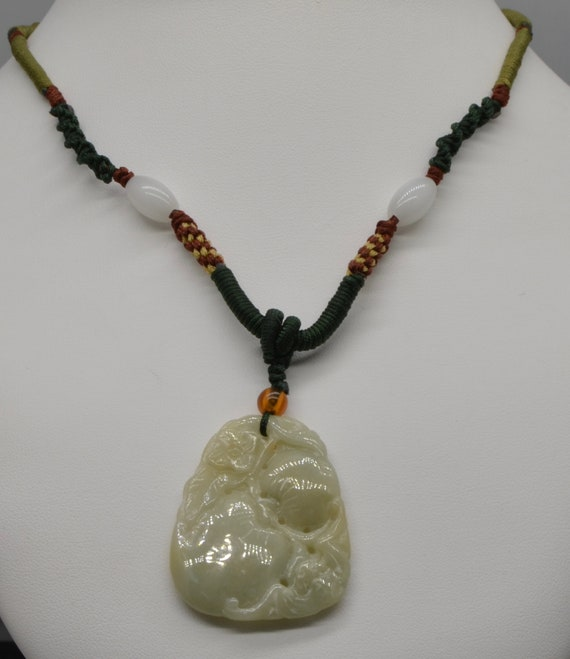 Vintage Green Jade Pendant Asian Apple Carving on traditional Asian Cord Necklace