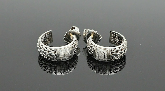 John Hardy Silver & 18k Gold Carved Classic Chain Pave Diamond Earrings