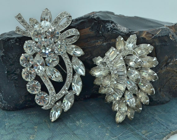 Two Large Stunning, 1940's Vintage Eisenberg Statement Brooches with Bright Faceted Stones