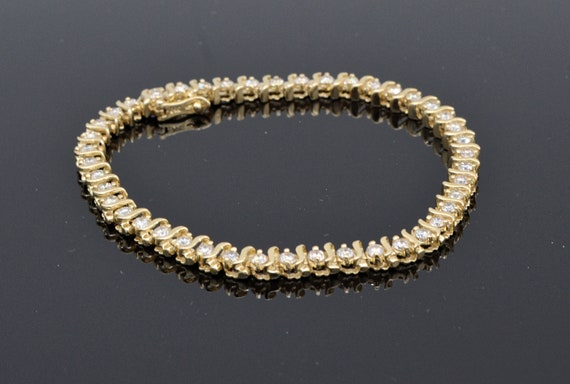 1.5  Carats Natural Diamond 14k Yellow Gold S-Link Tennis Bracelet  7.25  inches long