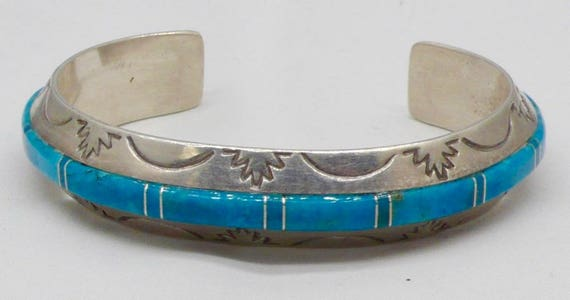 Vintage Native American Sterling Silver Turquoise Cuff Bracelet by Joan Douglas