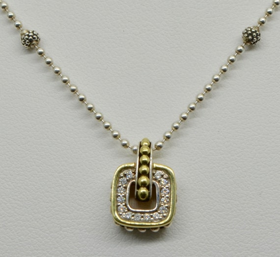 Vintage Lagos Diamond Cushion Caviar 18kt Yellow Gold and Sterling Silver Pendant & Chain Necklace