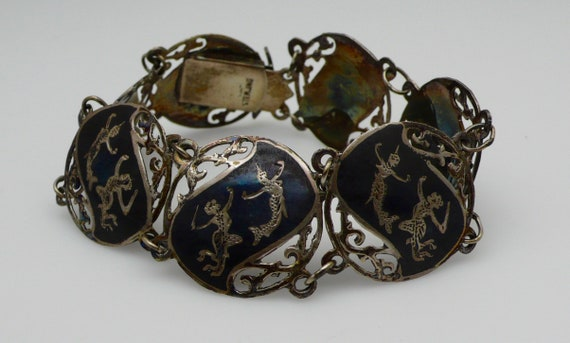 Vintage Antique Siam Niello Silver Jewelry Bracelet with Matcha, the Mermaid Queen & Hanuman, King of Monkey's