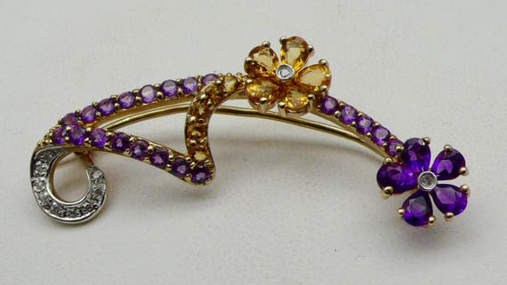 Vintage 10kt Yellow Gold Pin Brooch Flower Design with Amethyst, Citrine, and Diamond